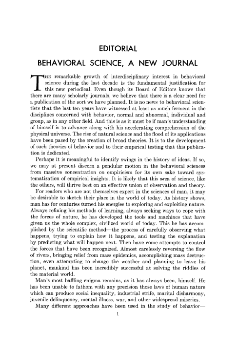 Behavioral Science, A New Journal