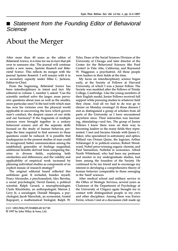 Statement from the Founding Editor of Behavioral Science:  About the Merger