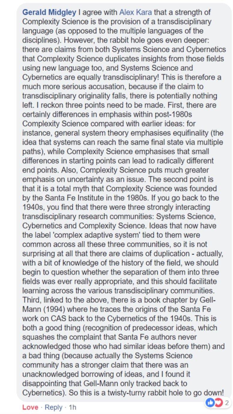 Gerald Midgeley on complexity
